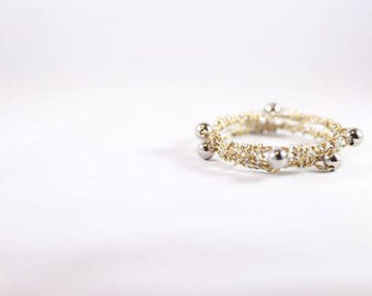 Gold and Silver Wire Wrapped Bracelet Set