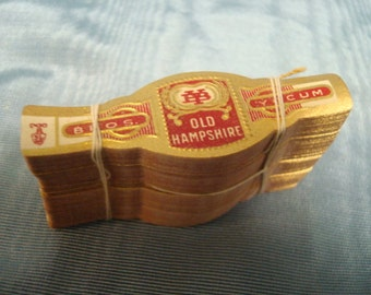 Lot 200 Old Hampshire Vintage Cigar Band Labels Red Gold Design Original Labels - New Never Used all 200 for 10.00 1940's old new stock ART