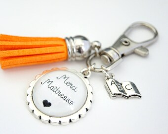 Thank you teacher bag charm key chain - orange