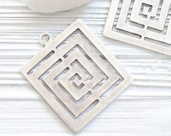 Large silver square pendant, geometric pendant, spiral pendant, large pendants, unique pendant, rustic pendant, large metal pendant, square