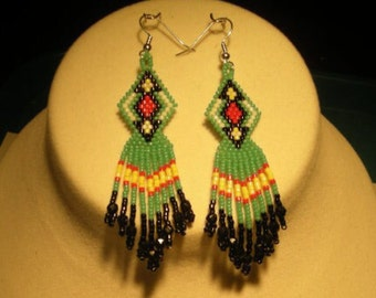 Native American 15/0 Seed Bead Earrings, Turquoise Color
