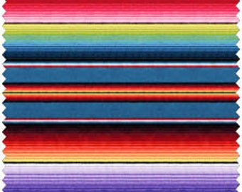 1 yard Fiesta Mexican Blanket Stripe from Elizabeth's Studio Cotton Quilt  Fabric 263 Blue