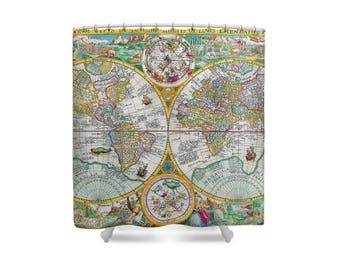 Map Shower Curtan, Retro Shower Curtain, World Map, Map Decor, Vintage World Map