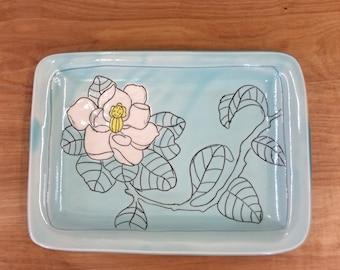 Handmade Tray witg Magnolia Deco. Glazed in Aqua and Clear. MA139