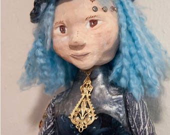 Lindsey Steampunk rag doll with one of a kind sculpted ceramic head