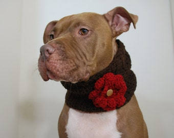 Dog Cowl Crochet Brown with Red Flower