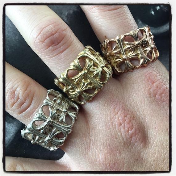 Etherial Jewelry - Rock Chic Talisman Luxury Biker Custom Handmade Artisan Pure Sterling Silver .925 Handcrafted Multi Cross Badass Ring
