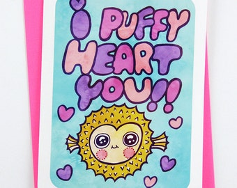 I Puffy Heart You - Valentines day card funny valentine card boyfriend card husband card for girlfriend valentine puns cute valentine card