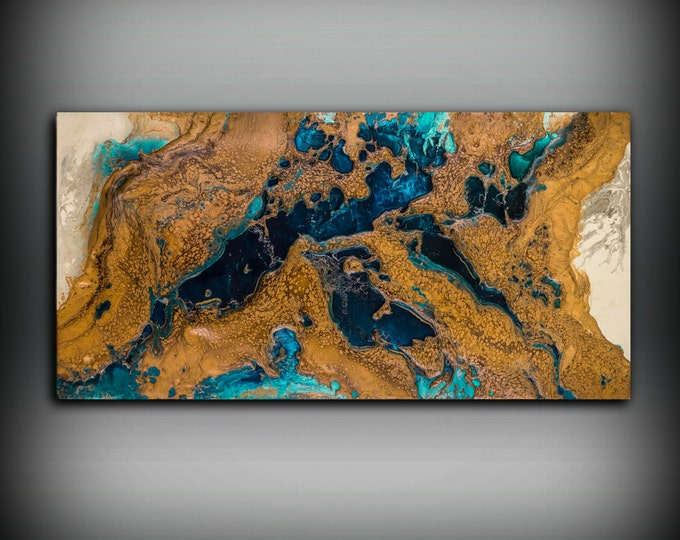Giclee Abstract Fine Art Print from Original Acrylic Abstract Painting Copper Wall Art Gift for Men Office Wall Art
