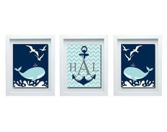 Whale Decor, Custom Initial Print, Nautical Decor, Whale Bathroom Decor, Whale Nursery Decor, Whale Nursery Wall Art, Initial Print