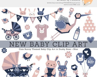 3 FOR 2. New Baby Clipart. Boy & Girl! Pink + Blue Baby Shower Bunny Rabbit Illustration. Cute Kids Scrapbooking. Nursery Art. Bunting.