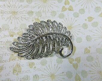 Vintage Silver Filigree Leaf Brooch - BR-158 - Silver Filigree Brooch - Silver Brooch