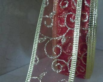 2 metres of red and gold 38 mm organza Ribbon