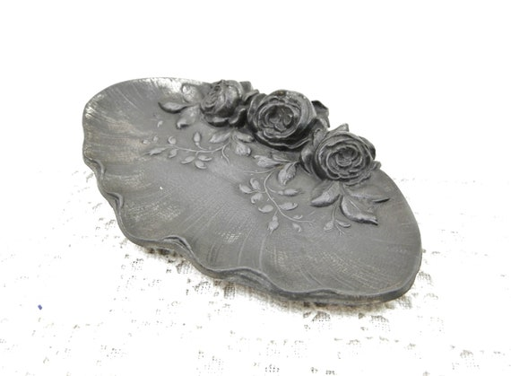 Antique Cast Pewter Metal French 19th Century Pen Rest Embellished with Rose Flowers, Belle Epoque Floral Ash Tray France, Victorian Desk