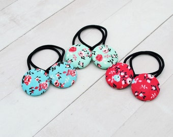 Floral Hair Tie, Small Gift for Woman, Spring Flower Ponytail Holder, Hair Button, Hair Accessory for Girl, Gift for Mom