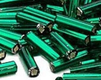 Dark Green Metallic Bugle Beads