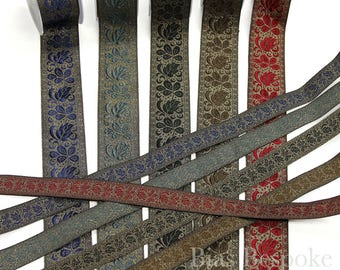 Lux Antique Gold Floral Jacquard Trim in Five Colorways and Two Widths, Made in Italy