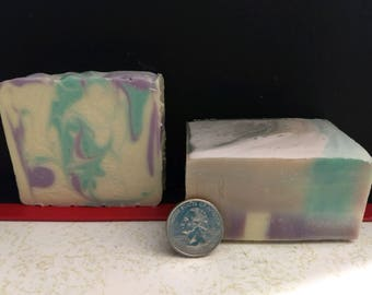 Lavender scented soap.  All natural, handmade soap using essential oils and the cold process method. Makes for a great gift!