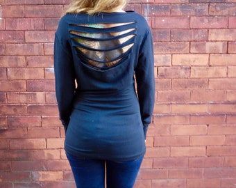 Eco Open Back Long Sleeve Sweater Long Sleeve T Shirt Open Back Shirt  Long Sleeve Shirt Black Shirt Stretch Top Open Back Top Eco Tunic