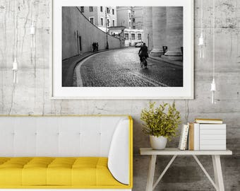 """Nightscape Architecture Photography, Large Wall Art Print, Italy Photography, Black & White Photograph, Vatican City Streets, """"Heading Home"""""""