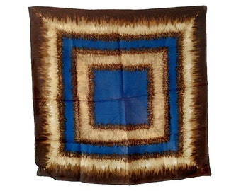 """Blue & Brown Scarf RAIN Scarf Water Repellent Geometric Square 31"""" 100% Rayon Hand Rolled Made in Japan Cobalt Blue Tan Dark Brown WPL 10360"""