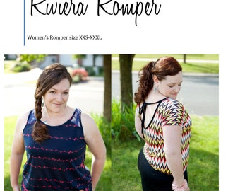 Riviera Romper, Women's Pattern size XXS-XXXL, Summer Romper with low back and short or capri length bottoms