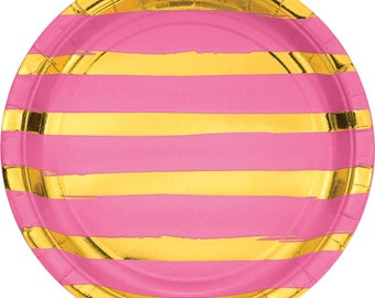 CLEARANCE Candy Pink 9 inch Plate with Gold Foil Stripes