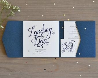 Calligraphy Wedding Invitation, Navy Pocket Fold