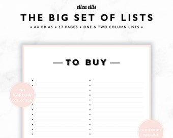 PLANNER PRINTABLE / Wishlist / Planner Accessories / 2018 Planner / To Do Lists / Home Organizer / The Harlow Planners in Perfume / 425