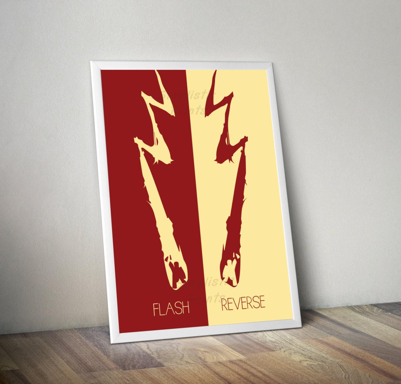 flash reverse flash minimalist poster 11x14 11x17 instant
