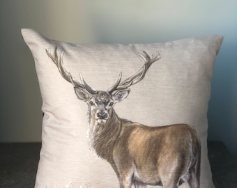 Deer square cushion 40cmx40cm with suede backing