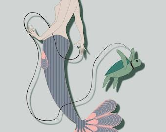 Mermaid with Sea Turtle