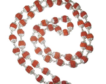 Rudraksha Mala 54+1 beads with silver plated metal caps