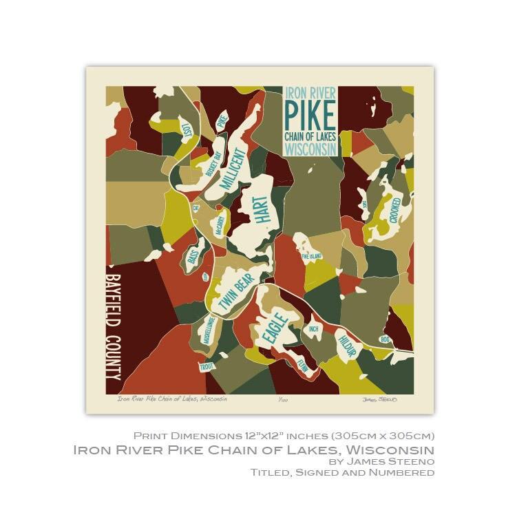 Eisen-Fluss-Pike Kette von Seen Wisconsin Art Karte Druck