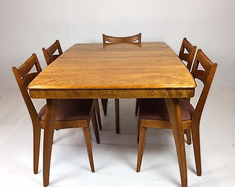 1950s Heywood Wakefield Dining Set - 5 Chairs, 2 Leaves, Protective Cover (pristine) - SOLD