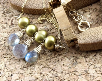 Thin 14K gold fill chain , labradorite  bar necklace, golden pearl necklace, hanging horizontal line pendant