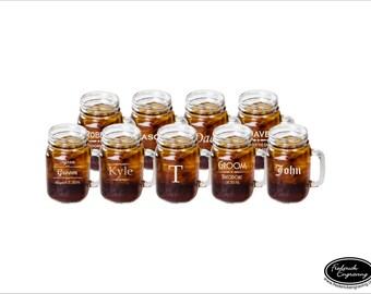 NINE Mason Jar Mugs, SHIPS FAST, Personalized Mason Jar Glasses, Custom Beer Mason Jars, Engraved Groomsmen Glasses, Rustic Wedding Decor