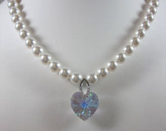 Customize Swarovski Crystal Pearl  Necklace,  Single Strand  Necklace, Wedding, Bridal, Bridesmaid, Prom, Party, Made to Order