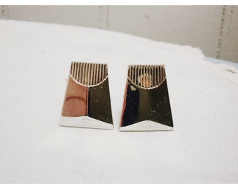 Vintage 1960s Silver Deco Style Cuff Links