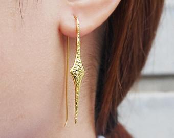 Gold Earrings, Drop Earrings, Long Earrings, Rustic Gold Earrings, Gold Diamond Earrings, Gold Plated Earrings, Long Drop Earrings, Earrings