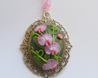 Sweet Pea 3D Necklace, Flower Pendant, Flower Jewelry Polymer Clay Applique Clay Embroidery Flower Necklace April Birthday Gift for Gardener