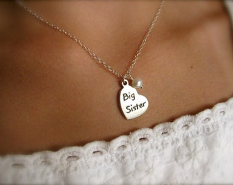 Sterling Silver Big Sister Necklace - Big Sister Gift - Big Sister Jewelry - Pregnancy Announcement - Gift from New Baby - New Big Sister