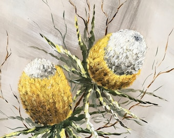 Original Painting, Yellow Banksia, Australian Native Painting by Helen