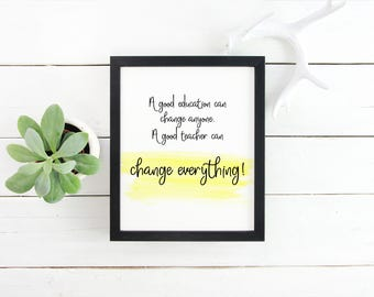 Back to School Gifts For Teachers, Education Quotes, Teacher Wall Art Prints Inspirational, Motivational Quotes For Desk, Teacher Gifts