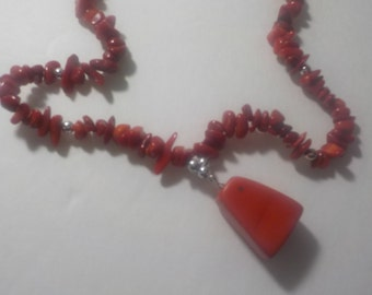 Vintage, Handmade, Stone, Red, 16 inch, Twist, Clasp, Necklace
