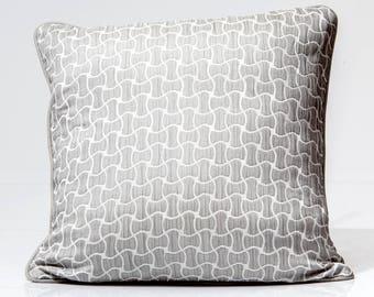 Silk throw pillow, gray silk pillow, geometric designer pillow, accent pillow