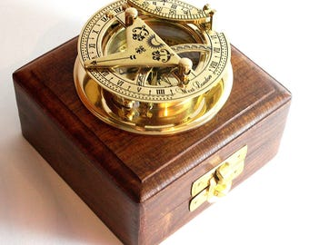 Brass Sundial Compass - West London sundial With Wooden Box