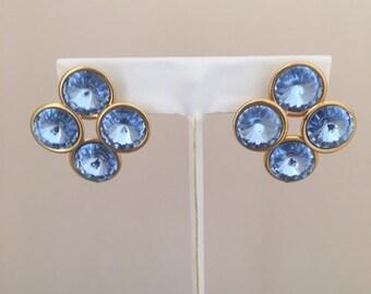Blue Glass Goldtone Pierced Earrings - Sky Blue Glass Colored Pierced Earrings