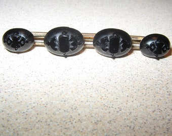 Victorian Mourning Jewelry Pin Brooch Vintage Costume Jewelry #5735