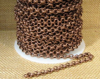 20ft 5.6mm Etched Rolo Chain - Antique Copper - 5.6mm Links - CH94